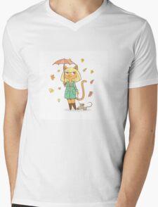 Autumn cat. Mens V-Neck T-Shirt