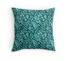 Aqua Blue and Black Army Camouflage Throw Pillow