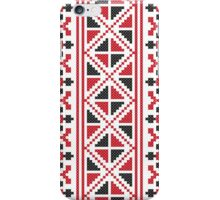 Embroidery red and black cross-stitch pattern iPhone Case/Skin