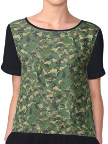 Classic Green Brown Army Camo Camouflage V2 Chiffon Top