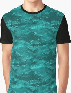Aqua Digital Camo Camouflage Graphic T-Shirt