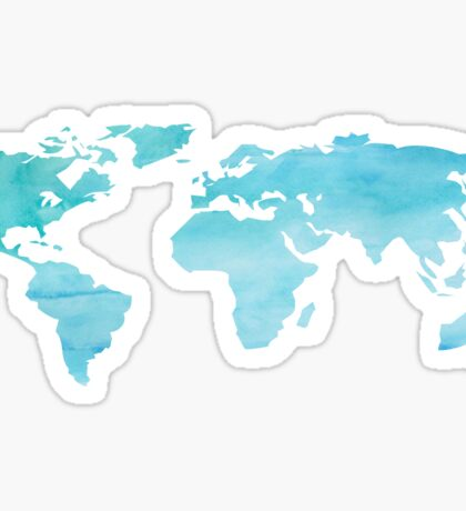 Blue Watercolor World Sticker