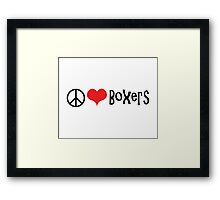 Peace, Love and Boxers Framed Print