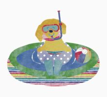 Whimsical Preppy Yellow Lab Summer Fun One Piece - Short Sleeve
