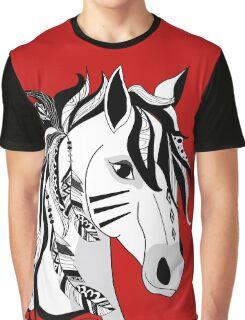 Beautiful Hand Drawn Digital Art Black White Horse  Graphic T-Shirt