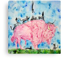 PINK BISON and BLACK CATS Canvas Print