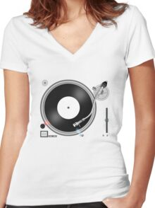 TURNTABLE Women's Fitted V-Neck T-Shirt
