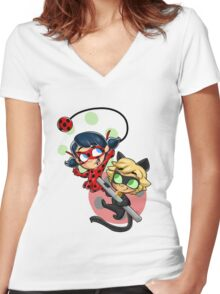 Ladybug and Chat Noir! Women's Fitted V-Neck T-Shirt