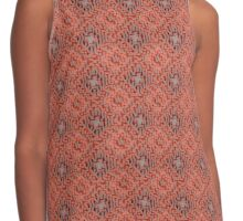 Terracotta Clay Red and Grey Mosaic Diamond Weave Harlequin Pattern Contrast Tank