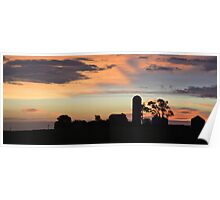 Silhouetted Farm  Poster