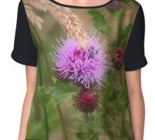 Beetle In A Thistle Flower Chiffon Top