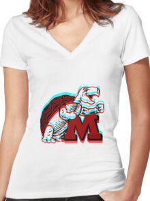 UMD -retro logo Women's Fitted V-Neck T-Shirt