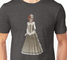 RedHead Woman Wearing Beige and Olive Green Dress, Hat and Gloves. Steampunk Art  Unisex T-Shirt