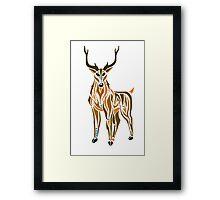 Tribal Stag colour Framed Print