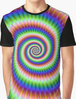 Green Blue Red and Yellow Spiral Graphic T-Shirt