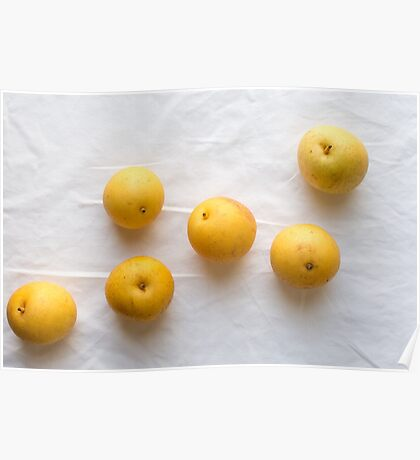 Nash pears on white tablecloth Poster