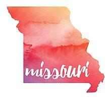Missouri - sunrise watercolor  Photographic Print