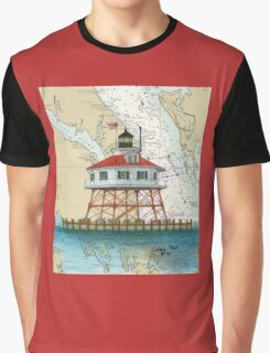 Drum Pt Lighthouse MD Nautical Chart Cathy Peek Graphic T-Shirt