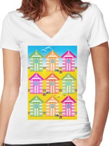 SUMMER BEACH HUTS Women's Fitted V-Neck T-Shirt