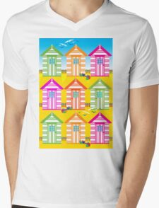 SUMMER BEACH HUTS Mens V-Neck T-Shirt