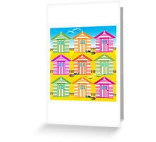 SUMMER BEACH HUTS Greeting Card