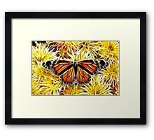 Butterfly on Flowers (detailed) Framed Print