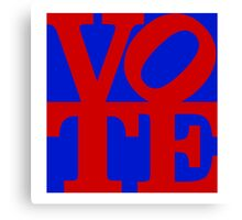 VOTE (red on blue) Canvas Print
