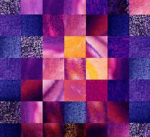 Purple Squares Pattern Abstract VI by Irina Sztukowski