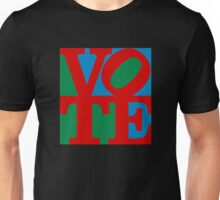 VOTE (red on blue and green) Unisex T-Shirt