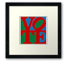 VOTE (red on blue and green) Framed Print