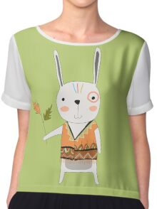 Cartoon Animals Tribal Bunny Rabbit Chiffon Top