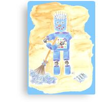 Blue Robot on Blue Canvas Print