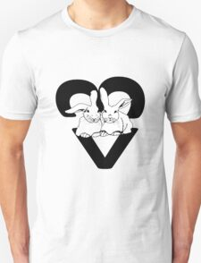 WRR Snuggle Bunns design by Copper Catkin - BW Unisex T-Shirt