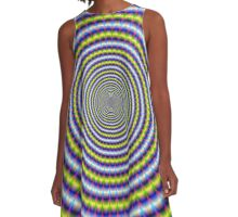 Toothed Rings in Blue and Yellow A-Line Dress