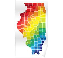 illinois color counties Poster