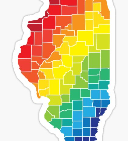 illinois color counties Sticker