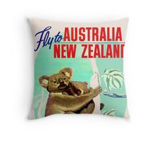 """TWA"" Fly to Australia & New Zealand Print Throw Pillow"