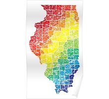 illinois color county map Poster