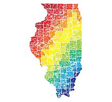illinois color county map Photographic Print