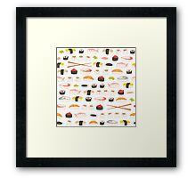 Sweet Sushi Pattern Framed Print
