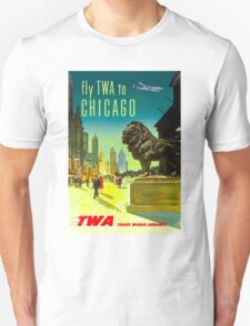 """TWA"" Fly to Chicago Advertising Print Unisex T-Shirt"