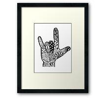 ASL Love Sign Language Hand  Framed Print
