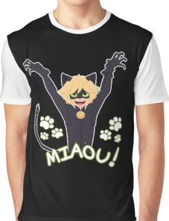 Miaou! - Chat Noir Graphic T-Shirt