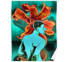 Aqua Man with Orange Hibiscus Poster