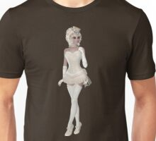 Blond Woman in Beige and Beautiful Lingerie Dress, Hat, Shoes and Gloves. Steampunk Art Unisex T-Shirt