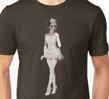 Brunette Woman in Beige and Beautiful Lingerie Dress, Hat, Gloves and Shoes. Steampunk Art Unisex T-Shirt