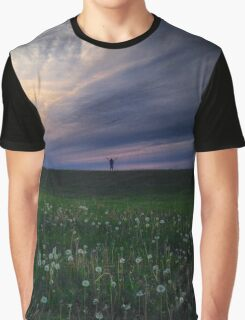 Cloudy Sky and Green Field Graphic T-Shirt