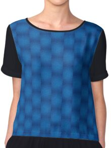 Brilliant Jewel Blue Abstract Faux Bumpy Crinkled Crumpled Paper Pattern Chiffon Top