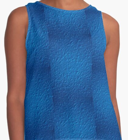 Brilliant Jewel Blue Abstract Faux Bumpy Crinkled Crumpled Paper Pattern Contrast Tank