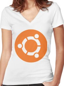 Ubuntu Linux Women's Fitted V-Neck T-Shirt
